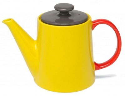 Jansen Mix and Match Ceramic Teapot in Yellow with Red Handle JC1138