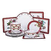 12 Piece Vintage Rose Dinner Set & 4 Piece Placemats