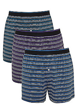 F&F 3 Pack of Fine Stripe Jersey Boxer Shorts with As New Technology - Black & Multi