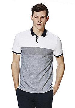 F&F Block Stripe Polo Shirt - White