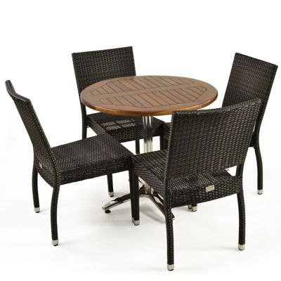 Brackenstyle Aluminium Ascot Side Chair & Round Table Set - Seats 4