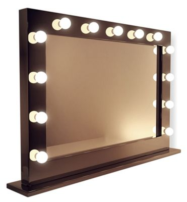 High Gloss Black Hollywood Makeup Dressing Room Mirror With Dimmable Bulbs K314