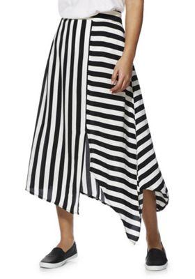 F&F Striped Asymmetric Midi Skirt Black/White 12