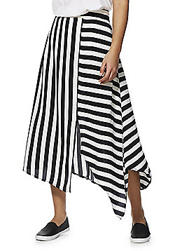 F&F Striped Asymmetric Midi Skirt - Black/White