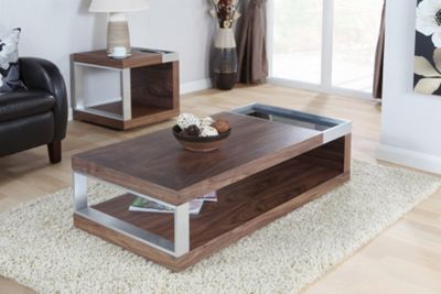 Jual Cube Black Gl Coffee Table Walnut