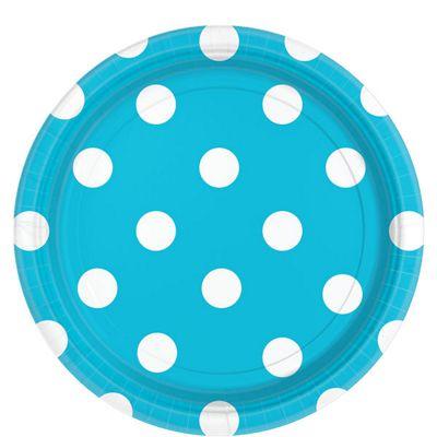 Turquoise Polka Dot Plates - 23cm Paper