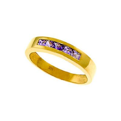 QP Jewellers 0.60ct Amethyst Princess Prestige Ring in 14K Gold - Size H