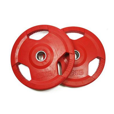 Bodymax Olympic Coloured Rubber Radial Weight Plates - 2 x 25kg (Red)