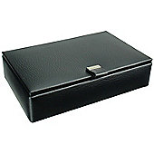 Black Leather 15 Cufflink Box with Red Interior.