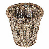 Homescapes Natural Willow Seagrass Round Wicker Waste Bin