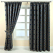 "Homescapes Blue Jacquard Curtain Modern Wave Pattern Fully Lined - 46"" X 72"" Drop"