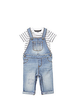 F&F Striped Bodysuit and Denim Dungarees Set - White & Blue