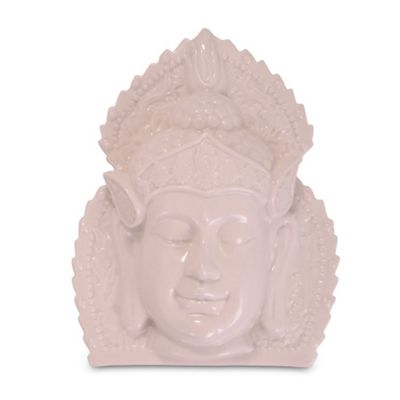 White Ceramic Ornamental Buddha Head Wall Art