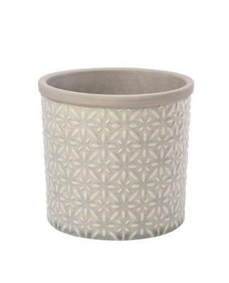 Burgon & Ball Tuscany Indoor Ceramic Plant Pot Large in Soft Grey