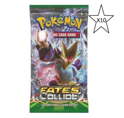 Pokemon Fates Collide Booster Packet Card Game - 10 Packs Supplied