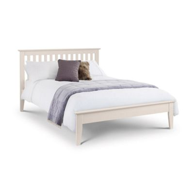 Happy Beds Salerno Wood Low Foot End Bed with Memory Foam Mattress - White - 4ft6 Double