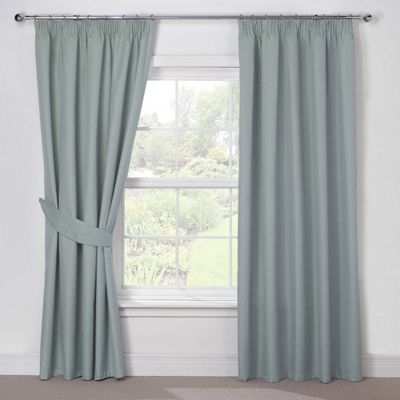 Julian Charles Luna Duck Egg Blackout Pencil Pleat Curtains - 90x54 Inches (229x137cm)