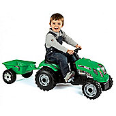 Childrens Green GM Bull Pedal Tractor and Trailer