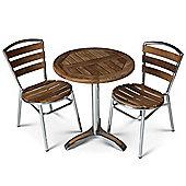 Brackenstyle Aluminium & Teak Bistro Set - Seats 2