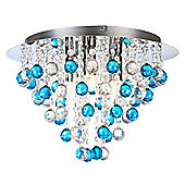 Modern Chrome Chandelier Ceiling Light with Clear and Teal Acrylic Spheres