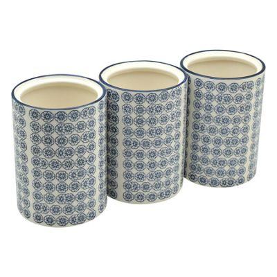 Nicola Spring Patterned Porcelain Kitchen Utensil Pots - Blue Flower Print Design - Pack Of 3