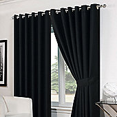 Dreamscene Basket Weave Eyelet Curtains Black - Black