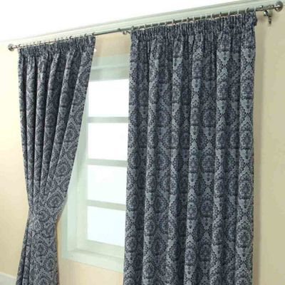 Homescapes Blue Jacquard Curtain Floral Damask Design Fully Lined - 90