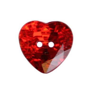 Hemline Red Two-Hole Heart Buttons 16mm 4pk