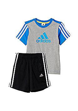 adidas Essential Logo Junior Kids Shirt & Short Set Grey/ Blue - Grey