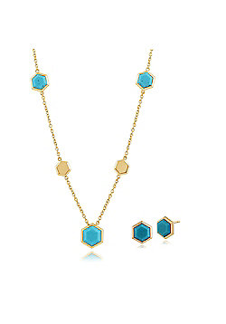 Gemondo Plated Silver Turquoise Hexagonal Prism Stud Earring & 45cm Necklace Set