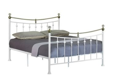 Comfy Living 5ft King Vintage Style Metal Bed Frame with Crystal Finials in White with Damask Orthopaedic Mattress