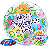 Mothers Day Curly Hearts Bubble Balloons - 22 inch