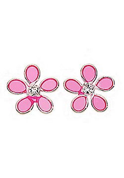 Sterling Silver and Pink Resin Flower Earrings