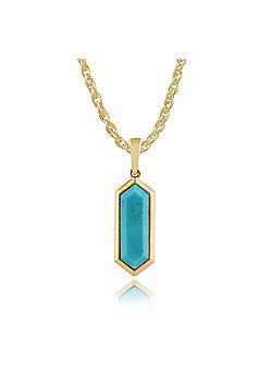 Gemondo Gold Plated Silver 1.70ct Turquoise Hexagonal Prism Pendant on 45cm Chain