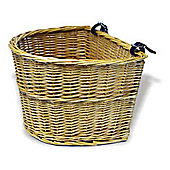 Traditional Willow Bicycle Basket with Leather Straps