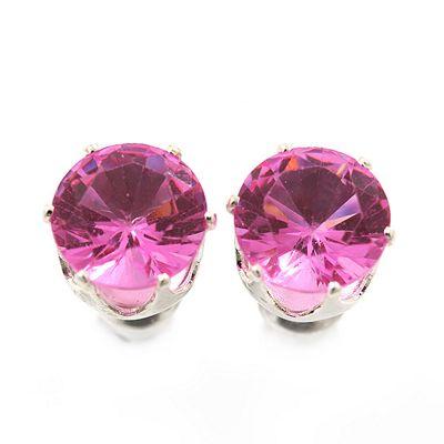 Classic Pink Crystal Round Cut Stud Earrings In Silver Plating - 8mm Diameter