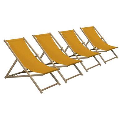 Harbour Housewares Traditional Adjustable Wooden Beach Garden Deck Chair - Orange - Pack of 4