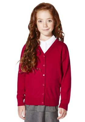 F&F School Girls Ribbed Cardigan with As New Technology 3-4 years Red