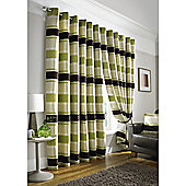 Pimlico Striped Chenille Eyelet Lined Curtains - Lime