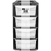 EHC 4 Drawer Small Plastic Tower- Black