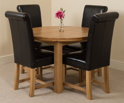 Edmonton Solid Oak Oval Extending 110 - 140 cm Dining Table with 4 Black Washington Leather Dining Chairs