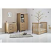 Obaby Stamford Mini Cot Bed 4 Piece Sprung Mattress Nursery Room Set - Iced Coffee