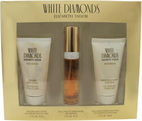 Elizabeth Taylor White Diamonds Gift Set 15ml EDP + 50ml Body Lotion + 50ml Shower Gel For Women