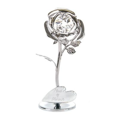 Beautiful Silver Rose 'Maid Of Honour' Ornament with Swarovski Crystal