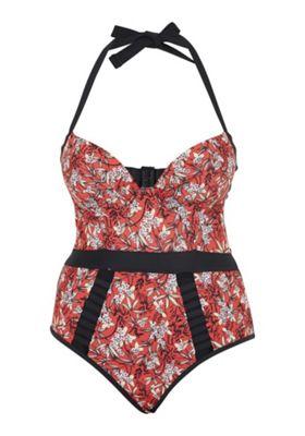 Curvy Kate Maya Floral Print Halterneck Swimsuit Red 40 FF cup