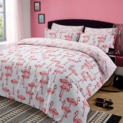 Duvet Cover with Pillowcase Bedding Set, Flamingo Pink - Single