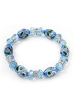 Floral Light Blue Glass Bead & Crystal Ring Flex Bracelet - Up to 21cm Length