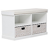 Suffolk Woven Storage Hall Bench, White