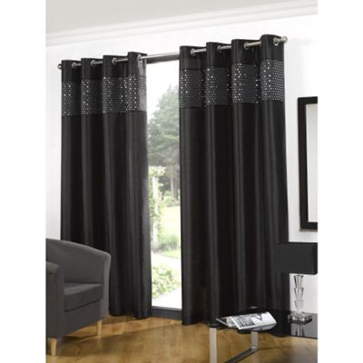 Hamilton McBride Glitz Lined Eyelet Black Curtains - 66x72 Inches (168x183cm)