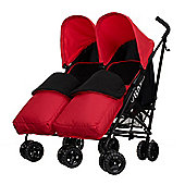 Obaby Apollo Black & Grey Twin Stroller with 2 Red Footmuffs - Red